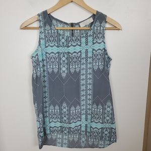 Olive & Oak size XS tank top grey blue zip back